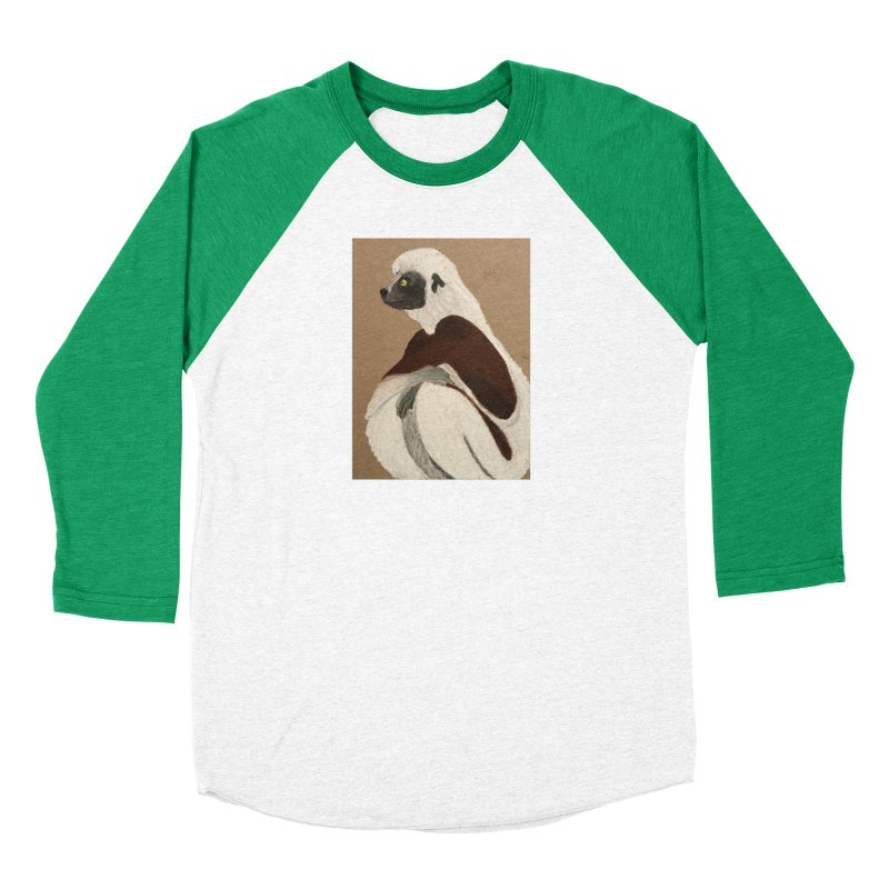 Pensive Sifaka Women's Baseball Triblend T-Shirt by Whimsical Wildlife Wares