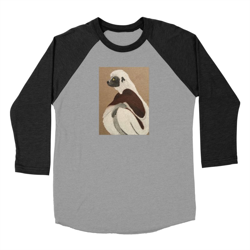 Pensive Sifaka Men's Baseball Triblend T-Shirt by Whimsical Wildlife Wares