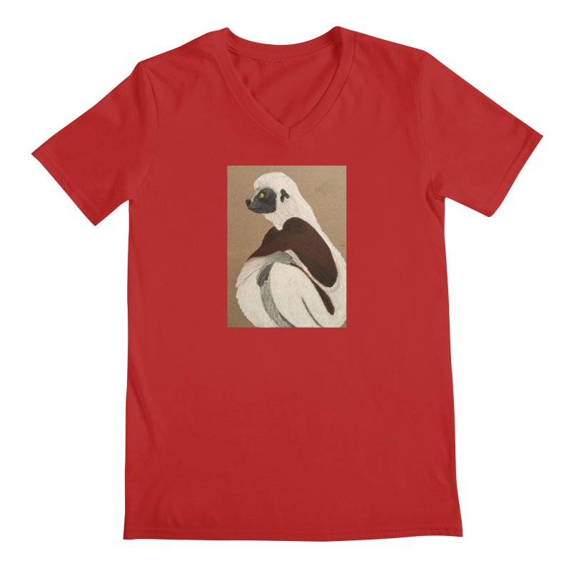 Pensive Sifaka Men's V-Neck by Whimsical Wildlife Wares