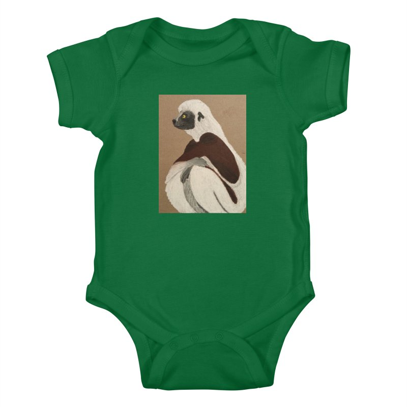 Pensive Sifaka Kids Baby Bodysuit by Whimsical Wildlife Wares