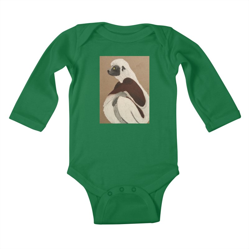 Pensive Sifaka Kids Baby Longsleeve Bodysuit by Whimsical Wildlife Wares