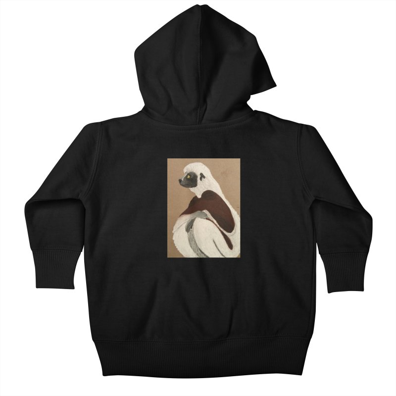 Pensive Sifaka Kids Baby Zip-Up Hoody by Whimsical Wildlife Wares