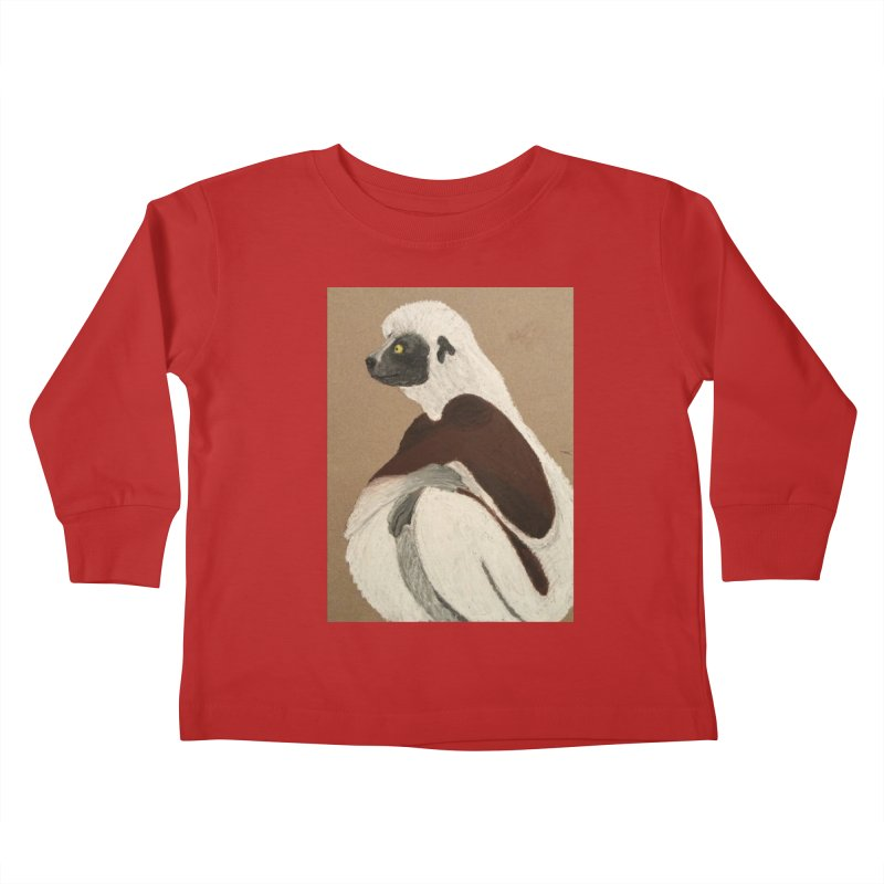 Pensive Sifaka Kids Toddler Longsleeve T-Shirt by Whimsical Wildlife Wares