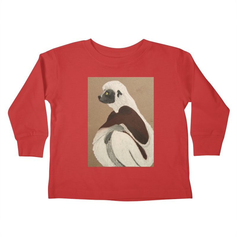 Pensive Sifaka Kids Toddler Longsleeve T-Shirt by Whimsical Wildlife Wares