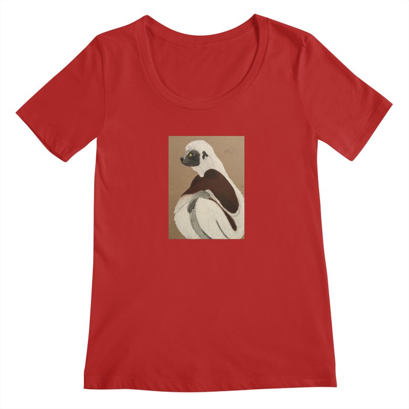 Pensive Sifaka Women's Scoopneck by Whimsical Wildlife Wares