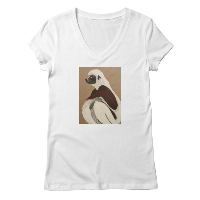 Pensive Sifaka Women's V-Neck by Whimsical Wildlife Wares