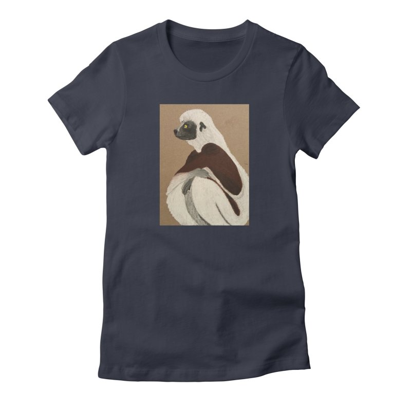 Pensive Sifaka Women's Fitted T-Shirt by Whimsical Wildlife Wares