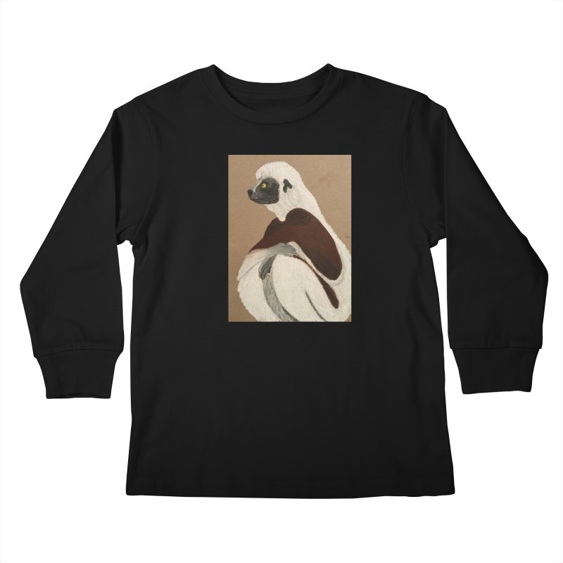 Pensive Sifaka Kids Longsleeve T-Shirt by Whimsical Wildlife Wares