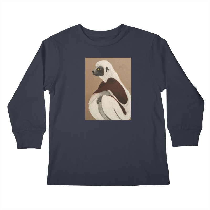 Pensive Sifaka Kids Longsleeve T-Shirt by Whimsical Wildlife Wares
