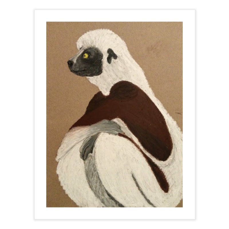 Pensive Sifaka Home Fine Art Print by Whimsical Wildlife Wares