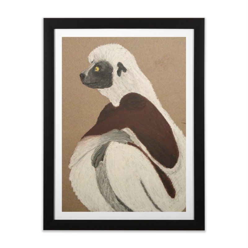 Pensive Sifaka Home Framed Fine Art Print by Whimsical Wildlife Wares