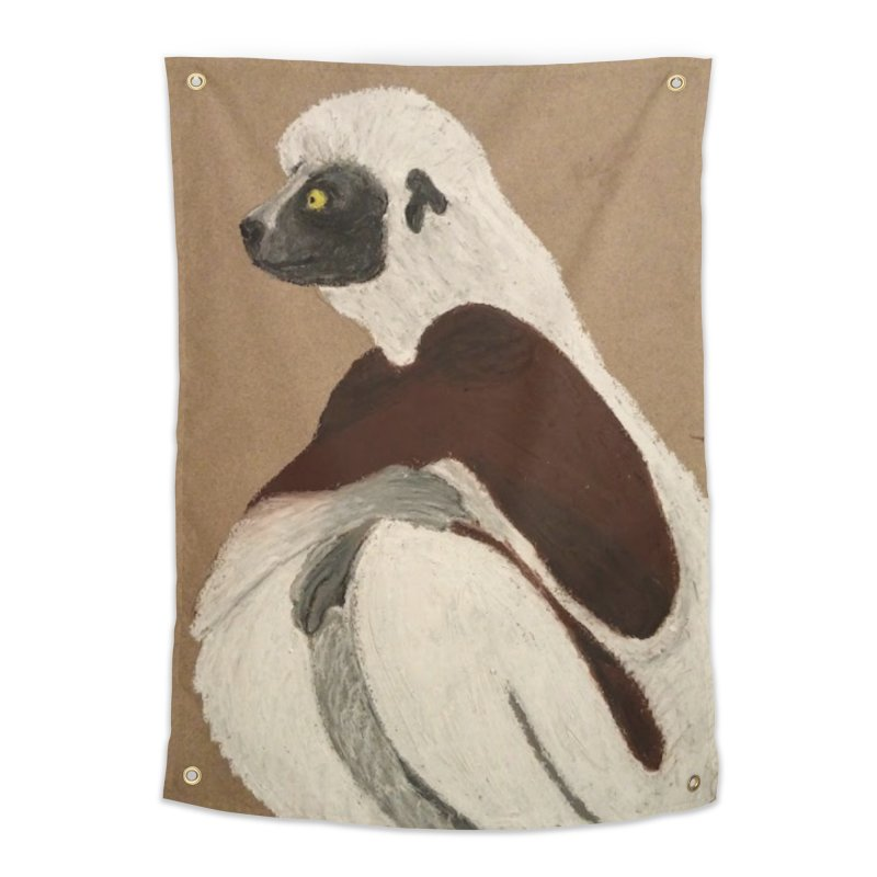 Pensive Sifaka Home Tapestry by Whimsical Wildlife Wares