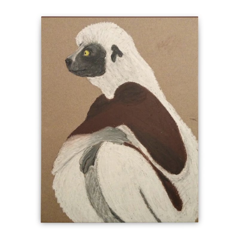 Pensive Sifaka Home Stretched Canvas by Whimsical Wildlife Wares