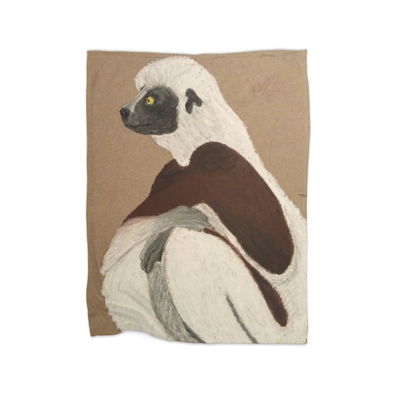 Pensive Sifaka Home Blanket by Whimsical Wildlife Wares