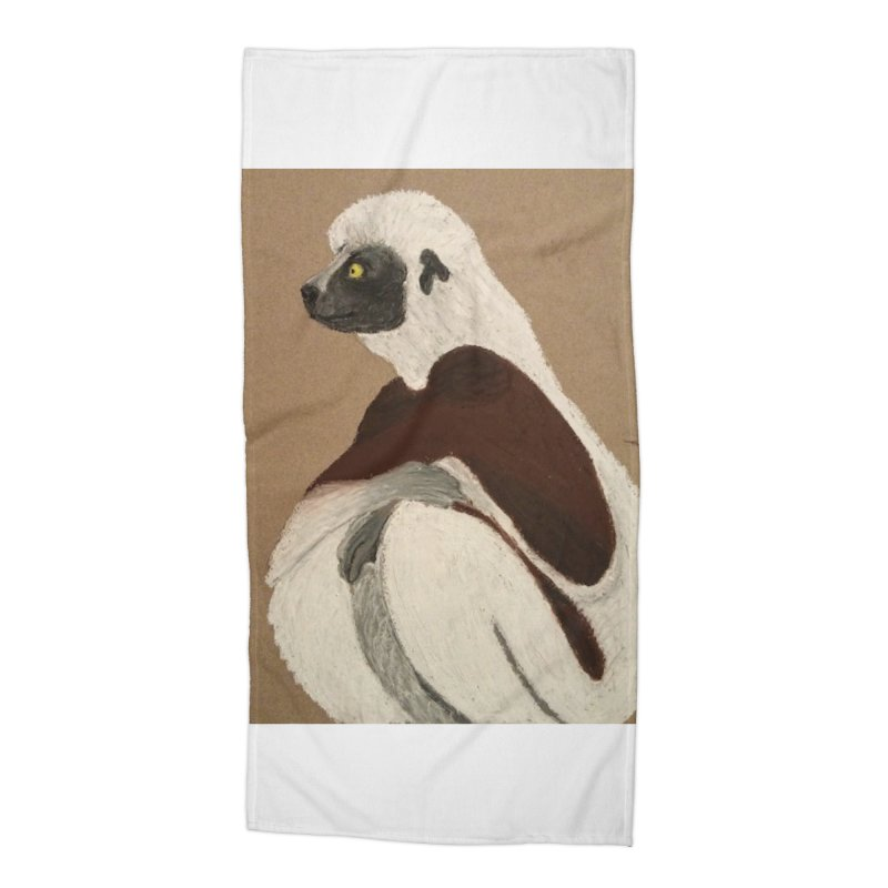 Pensive Sifaka Accessories Beach Towel by Whimsical Wildlife Wares