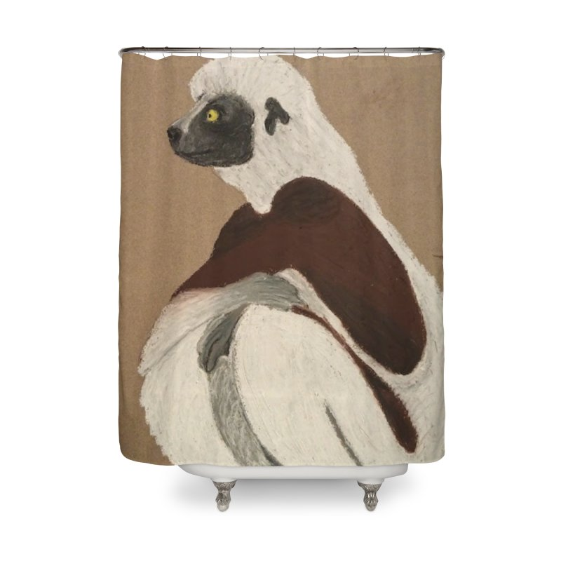 Pensive Sifaka Home Shower Curtain by Whimsical Wildlife Wares