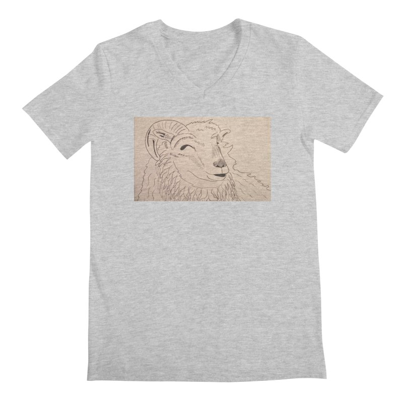 Ram Men's V-Neck by Whimsical Wildlife Wares