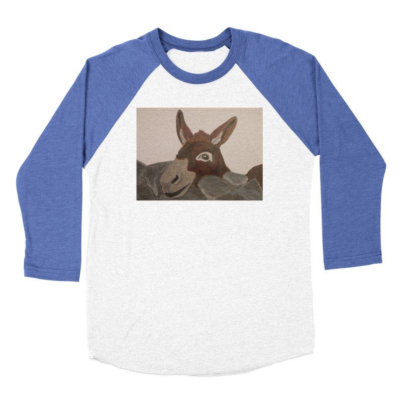 Donkey Women's Baseball Triblend T-Shirt by Whimsical Wildlife Wares
