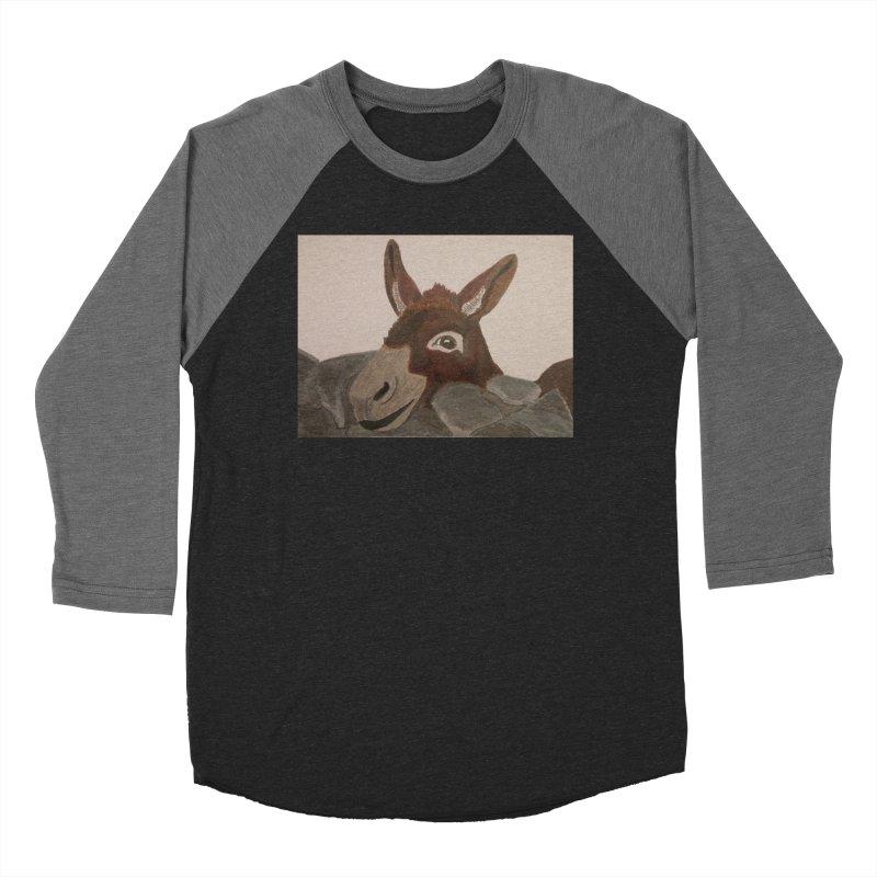 Donkey Men's Baseball Triblend T-Shirt by Whimsical Wildlife Wares