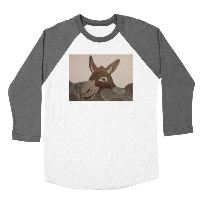 Donkey Men's Baseball Triblend T-Shirt by Whimsical Wildlife Wares
