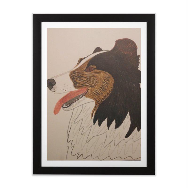 Sheltie/Border collie Home Framed Fine Art Print by Whimsical Wildlife Wares