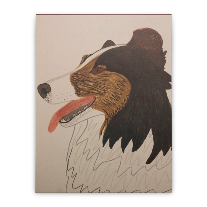 Sheltie/Border collie Home Stretched Canvas by Whimsical Wildlife Wares