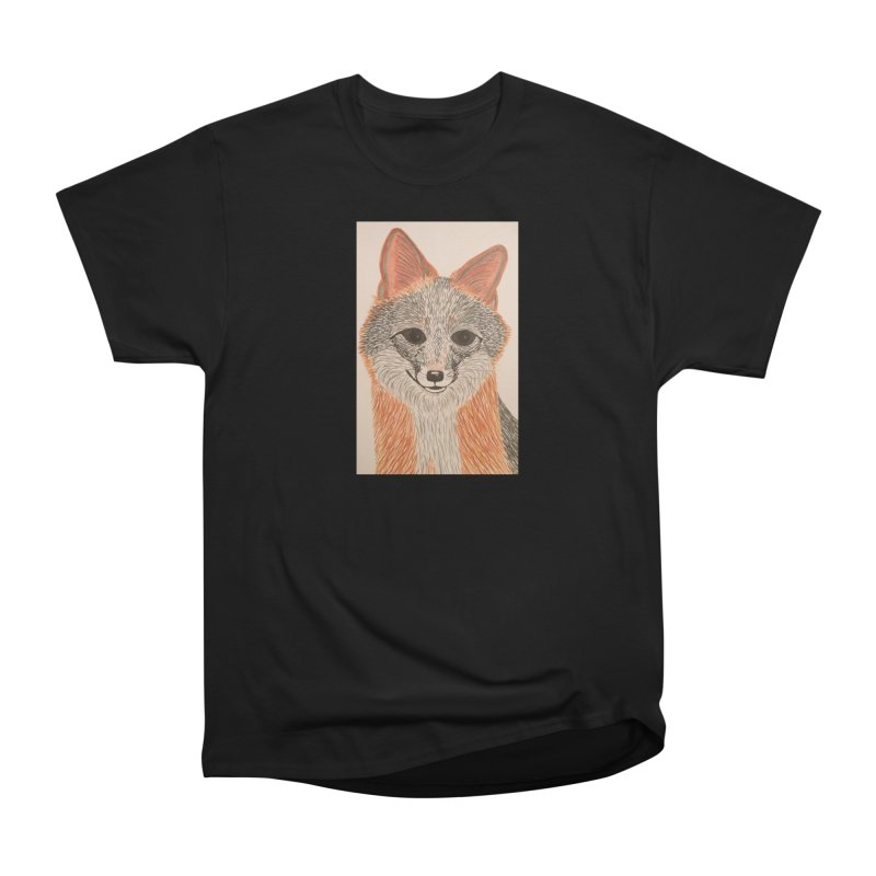 Grey Fox Women's Heavyweight Unisex T-Shirt by Whimsical Wildlife Wares