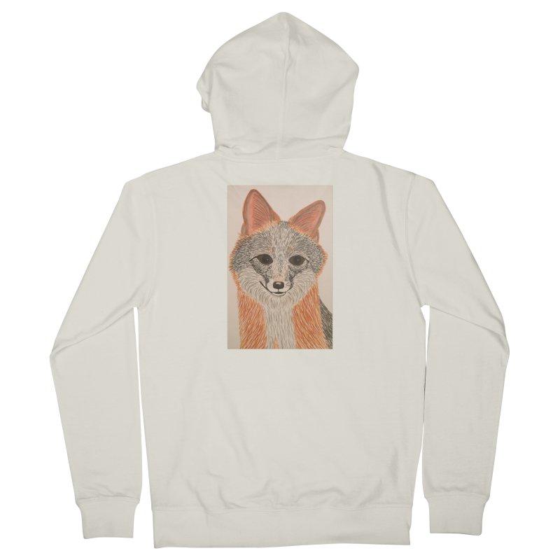 Grey Fox Men's Zip-Up Hoody by Whimsical Wildlife Wares