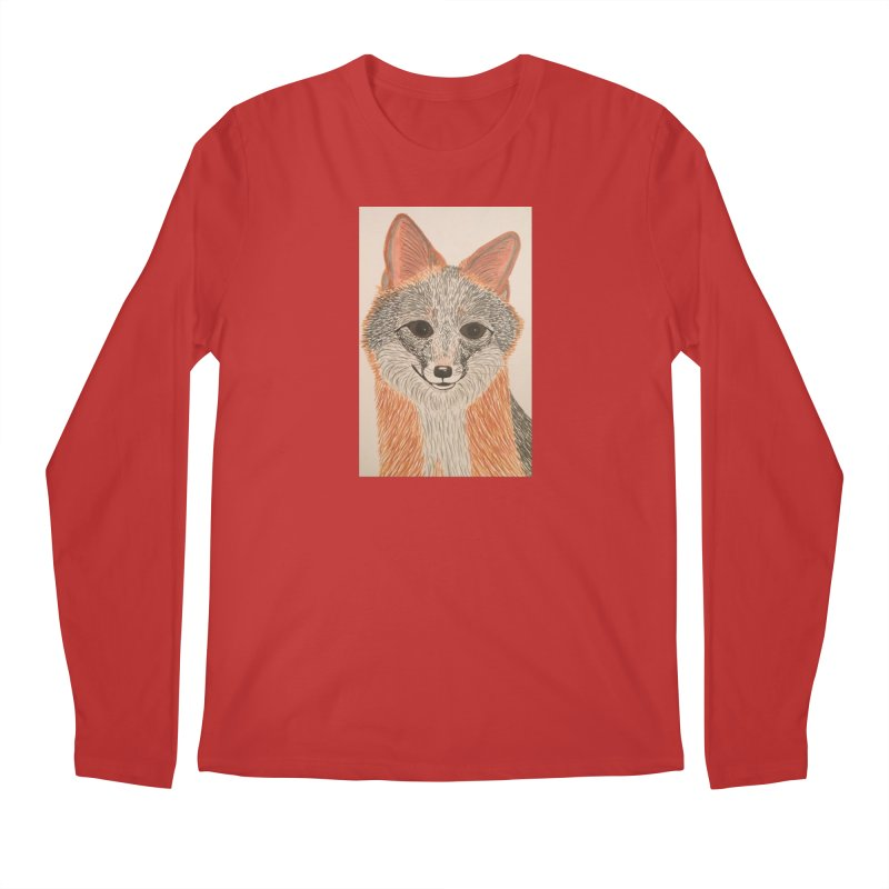 Grey Fox Men's Longsleeve T-Shirt by Whimsical Wildlife Wares