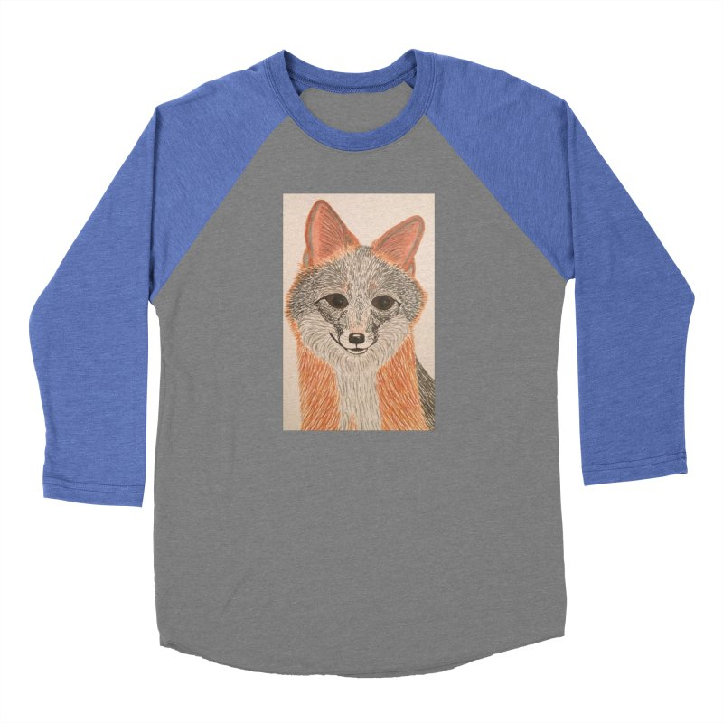Grey Fox Women's Baseball Triblend T-Shirt by Whimsical Wildlife Wares