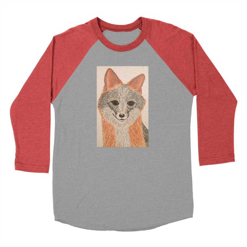 Grey Fox Men's Baseball Triblend T-Shirt by Whimsical Wildlife Wares