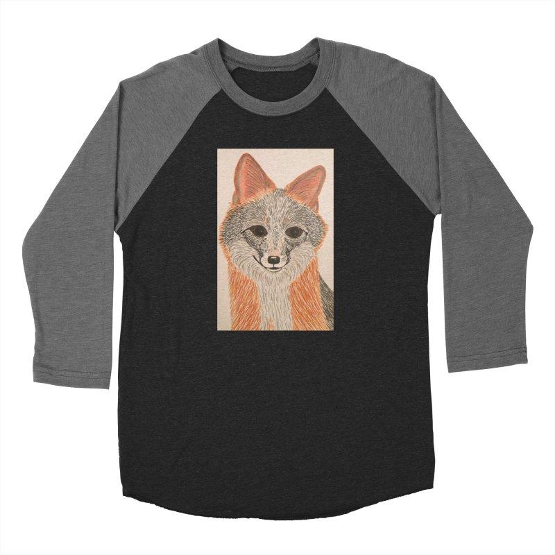 Grey Fox Men's Baseball Triblend T-Shirt by Whimsical Wildlife Wares