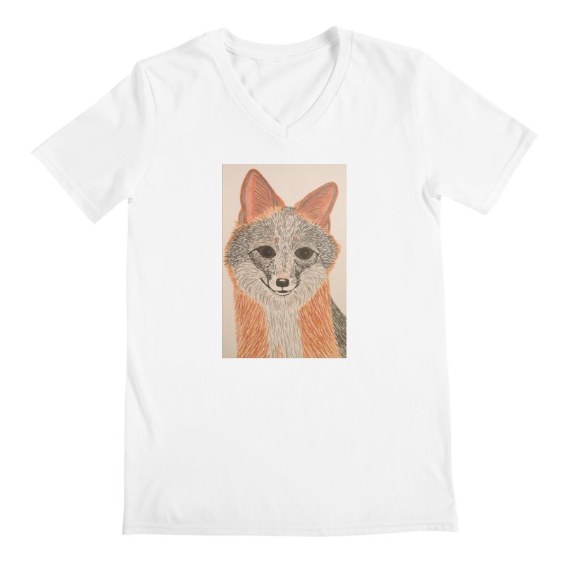 Grey Fox Men's V-Neck by Whimsical Wildlife Wares