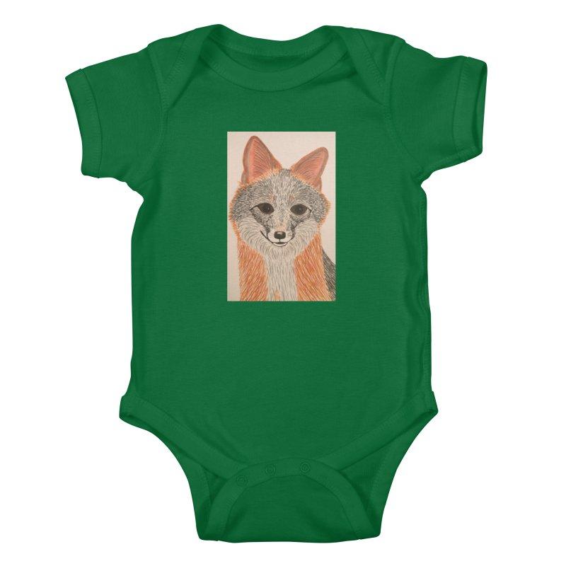 Grey Fox Kids Baby Bodysuit by Whimsical Wildlife Wares