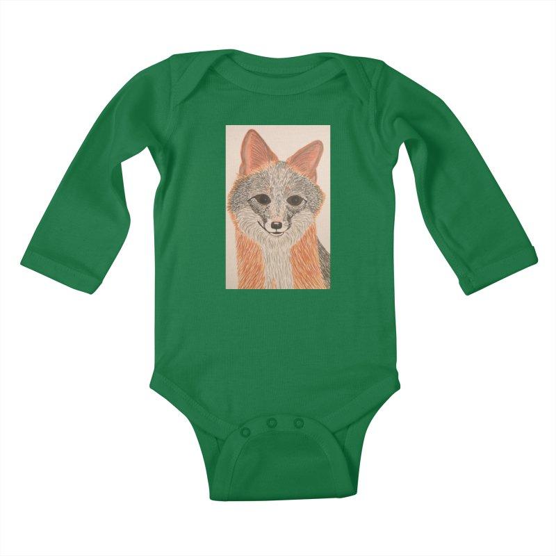 Grey Fox Kids Baby Longsleeve Bodysuit by Whimsical Wildlife Wares