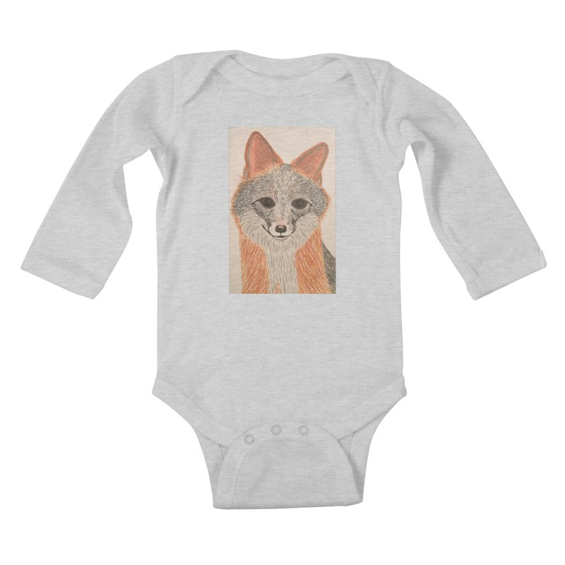 Grey Fox Kids Baby Longsleeve Bodysuit by Whimsical Wildlife Wares