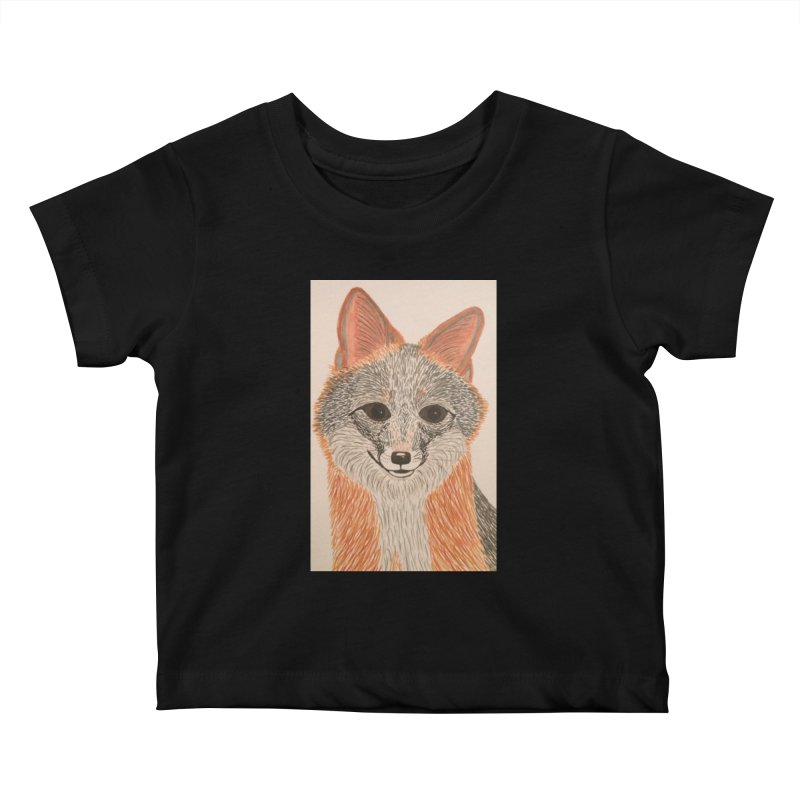 Grey Fox Kids Baby T-Shirt by Whimsical Wildlife Wares