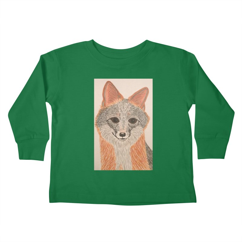 Grey Fox Kids Toddler Longsleeve T-Shirt by Whimsical Wildlife Wares
