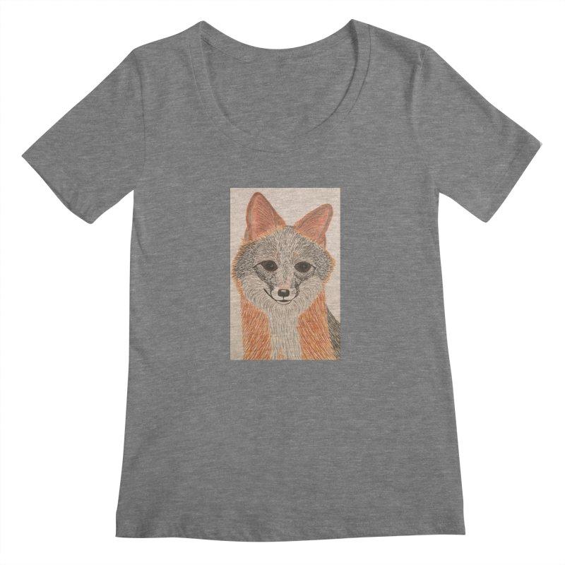 Grey Fox Women's Scoopneck by Whimsical Wildlife Wares