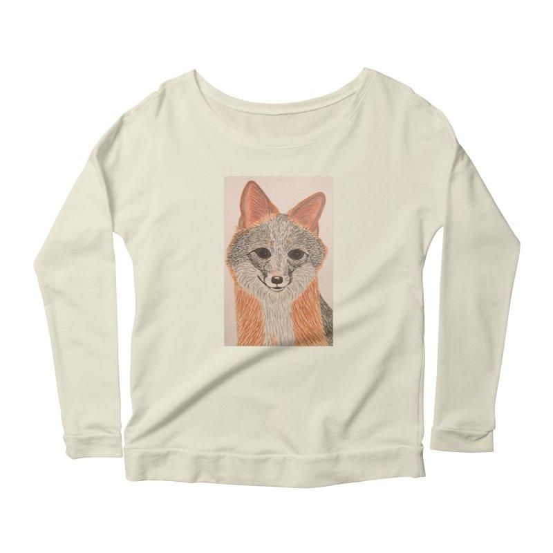 Grey Fox Women's Longsleeve Scoopneck  by Whimsical Wildlife Wares