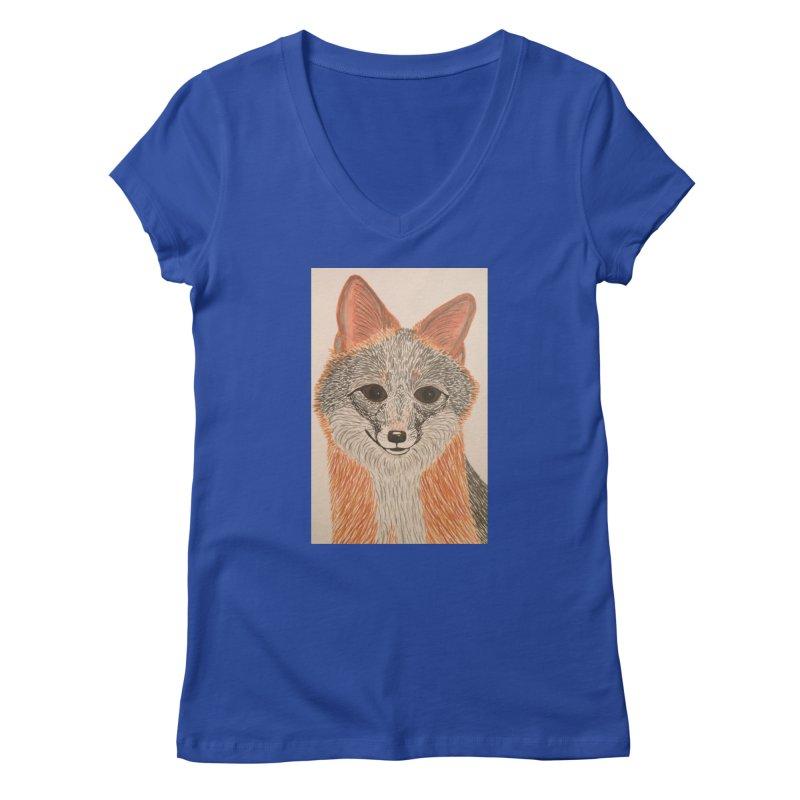 Grey Fox Women's V-Neck by Whimsical Wildlife Wares