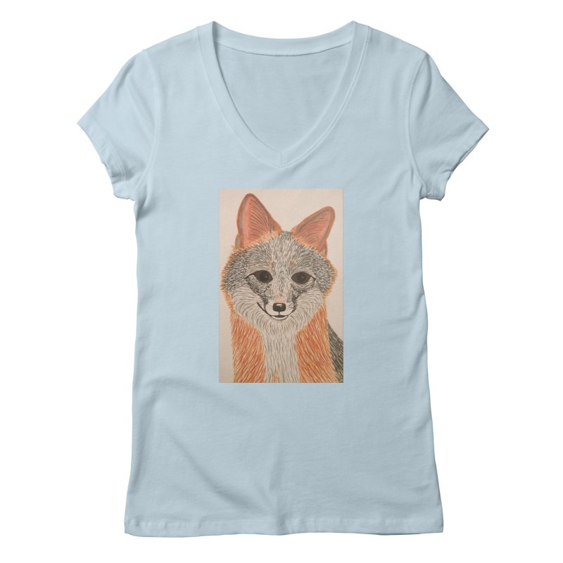 Grey Fox Women's V-Neck by Whimsical Wildlife Wares