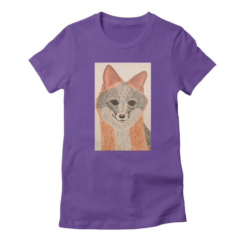 Grey Fox Women's Fitted T-Shirt by Whimsical Wildlife Wares