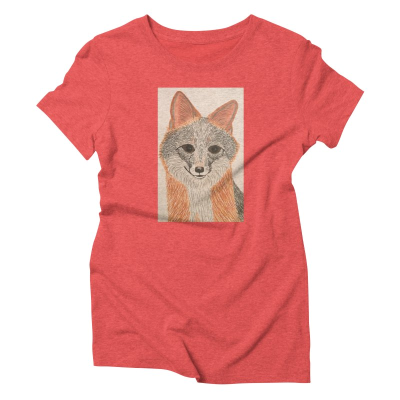 Grey Fox Women's Triblend T-Shirt by Whimsical Wildlife Wares