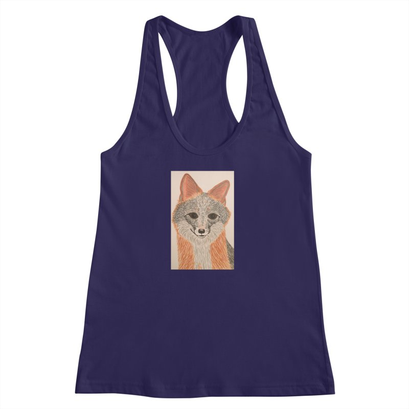 Grey Fox Women's Racerback Tank by Whimsical Wildlife Wares