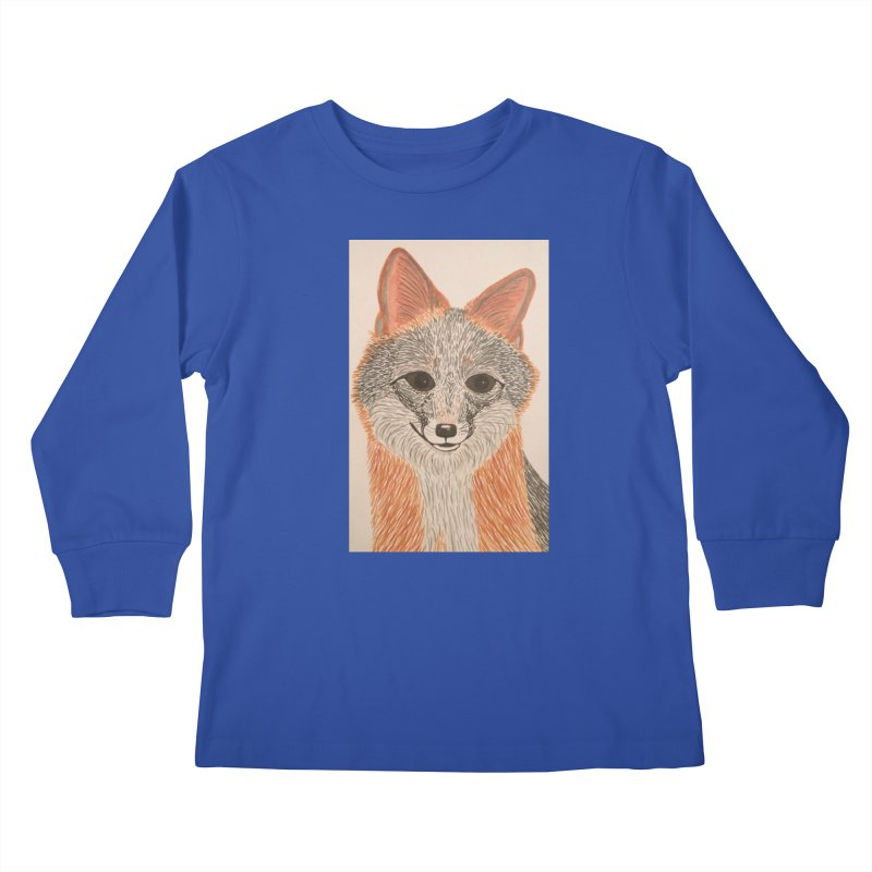 Grey Fox Kids Longsleeve T-Shirt by Whimsical Wildlife Wares