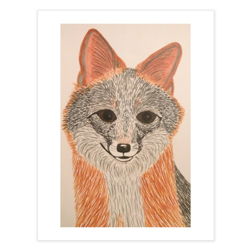 Grey Fox Home Fine Art Print by Whimsical Wildlife Wares