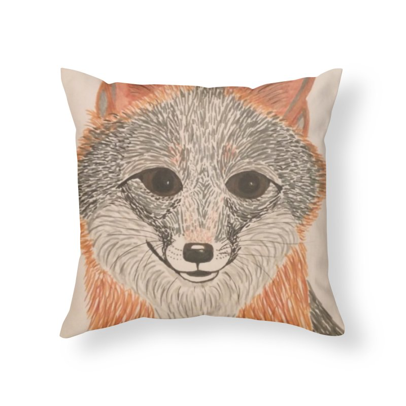 Grey Fox Home Throw Pillow by Whimsical Wildlife Wares