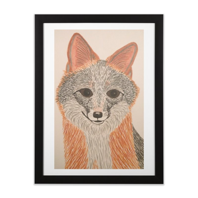 Grey Fox Home Framed Fine Art Print by Whimsical Wildlife Wares