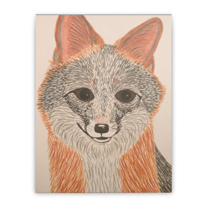 Grey Fox Home Stretched Canvas by Whimsical Wildlife Wares